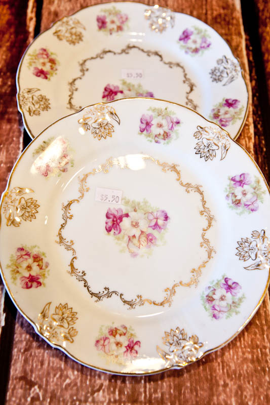 Pink and white flower patterned plates