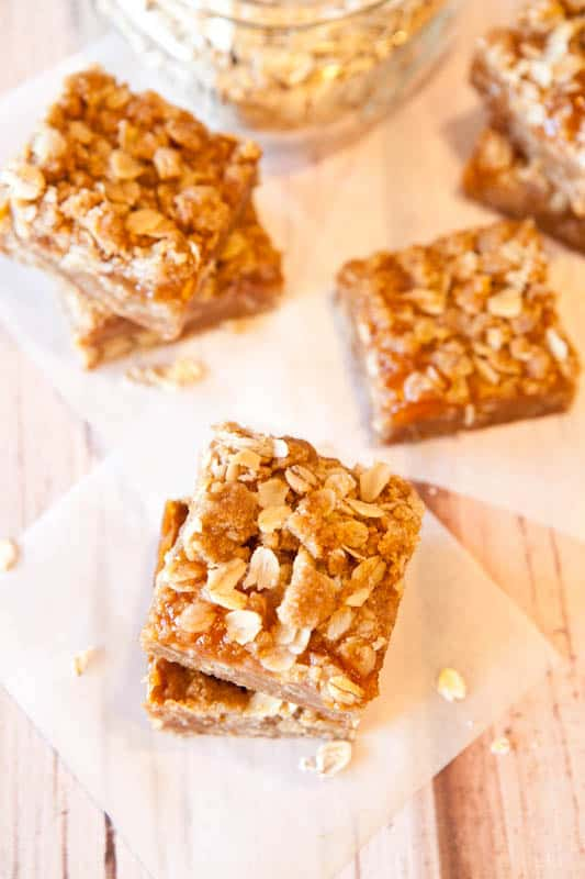 Caramel Peanut Butter & Jelly Bars stacked
