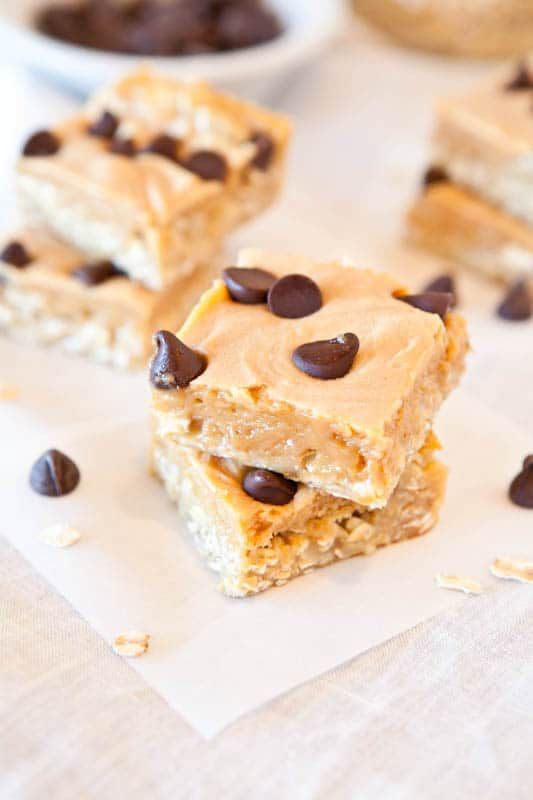 Marshmallow Peanut Butter Double Chocolate Pillowtop Bars with chocolate chips