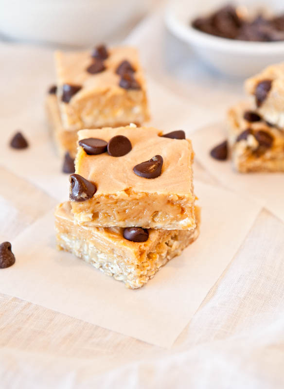Marshmallow Peanut Butter Double Chocolate Pillowtop Bars with chocolate chips stacked