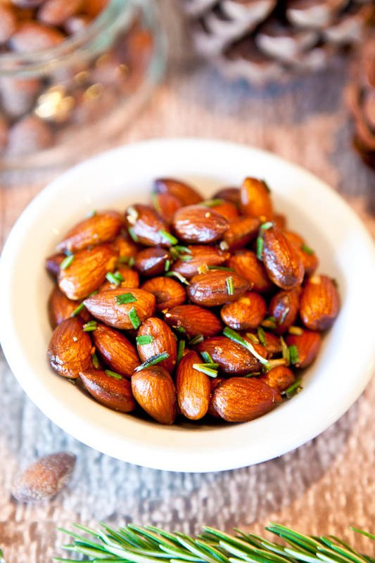Rosemary Chipotle Roasted Almonds in white bowl