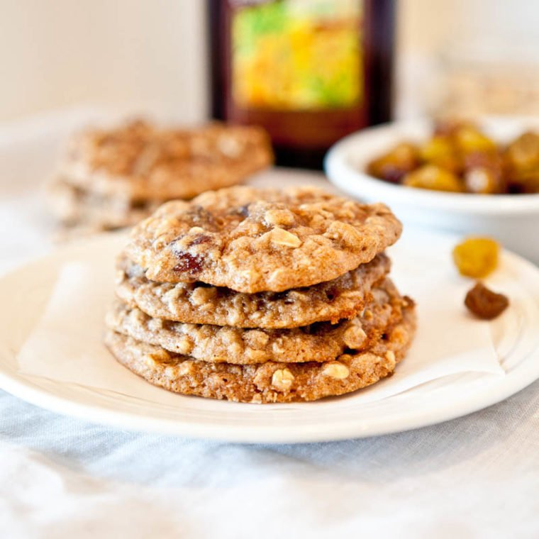 Dark rum oatmeal raisin cookies stack