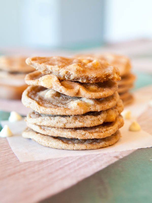 White Chocolate Snickerdoodle Cookies stacked
