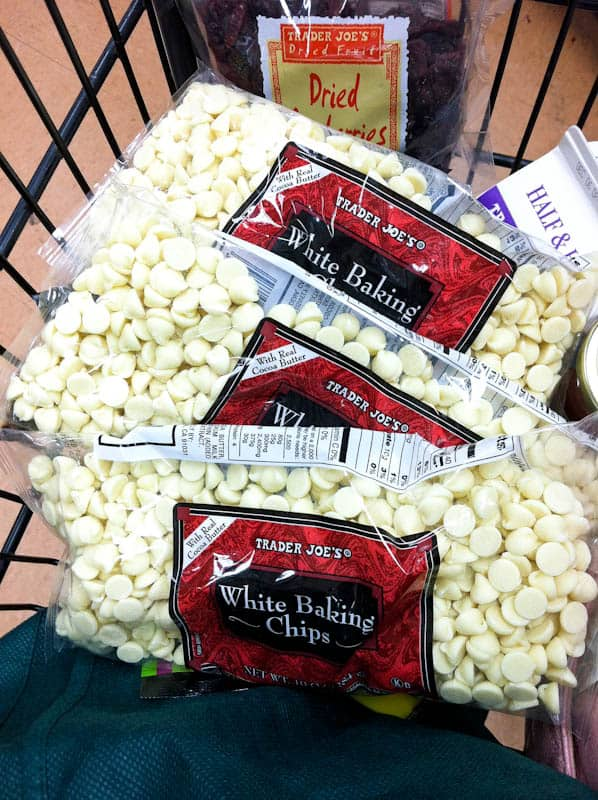 White chocolate chip bags in shopping cart