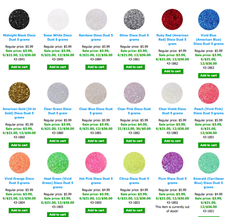 different colors of edible glitter
