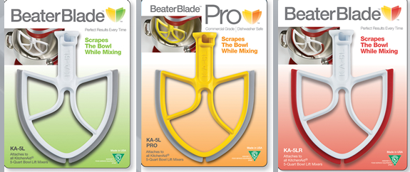 Three different colors of beater blades