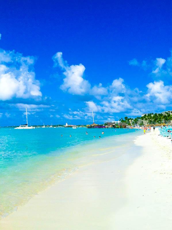 Aruba beach with greenery in distance