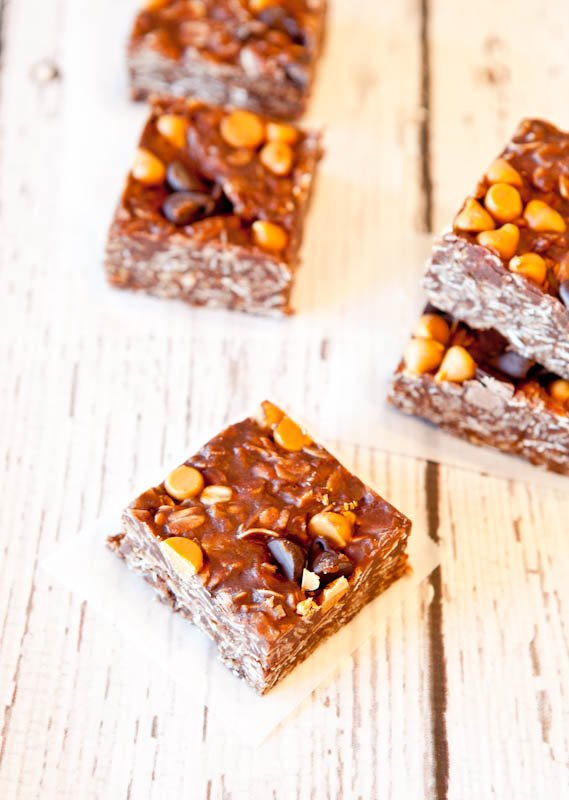 Chocolate Peanut Butter Oat Squares
