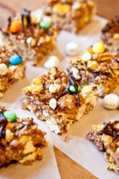 Double Chocolate Caramel Corn & Cocoa Rice Krispies Candy Bars