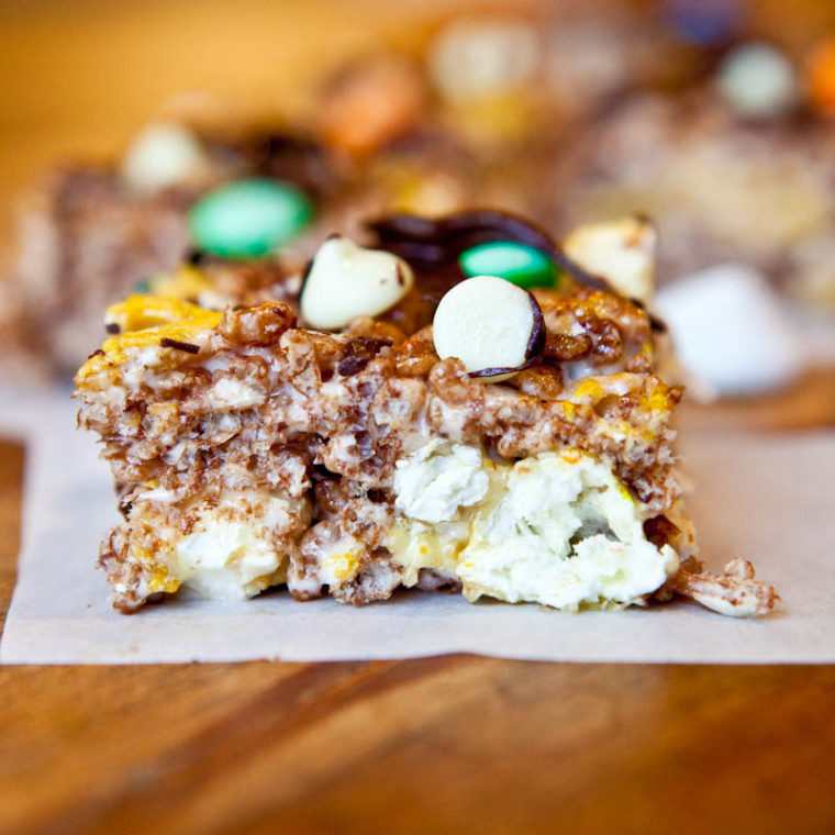 Double chocolate caramel corn cocoa rice krispies bar