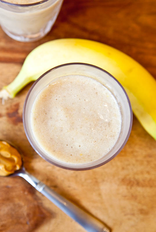 Creamy Cookie Butter White Chocolate Banana Smoothie with banana and cookie butter
