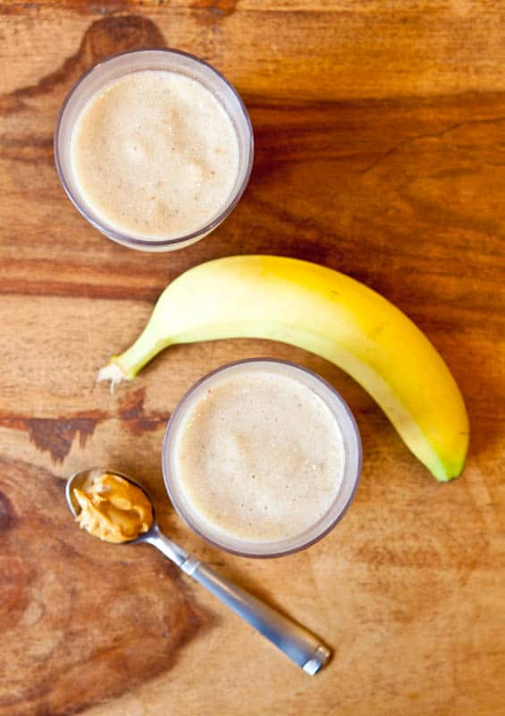 Creamy Cookie Butter White Chocolate Banana Smoothie with banana