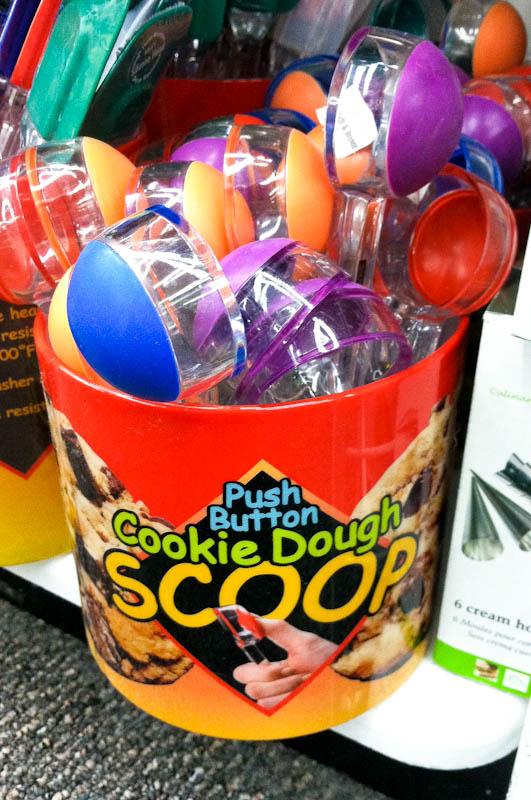 Bucket of cookie scoops