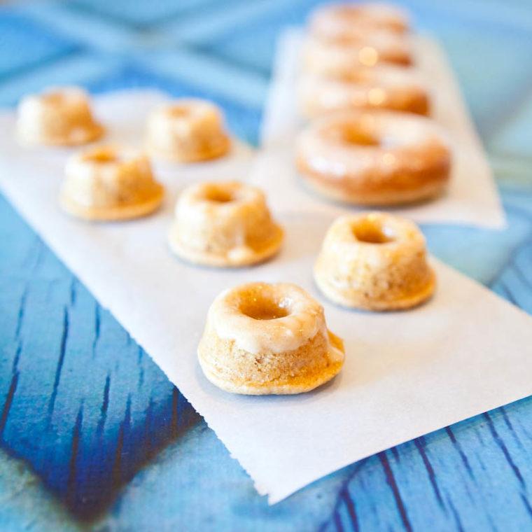 Mini Baked Eggnog Vanilla Donuts with Eggnog Rum Glaze