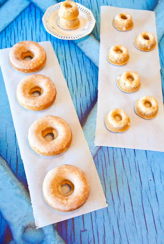 Baked Eggnog Vanilla Donuts with Eggnog Rum Glaze