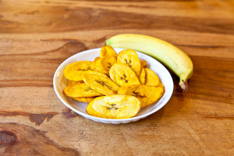 Bowl of plantain slices with banana
