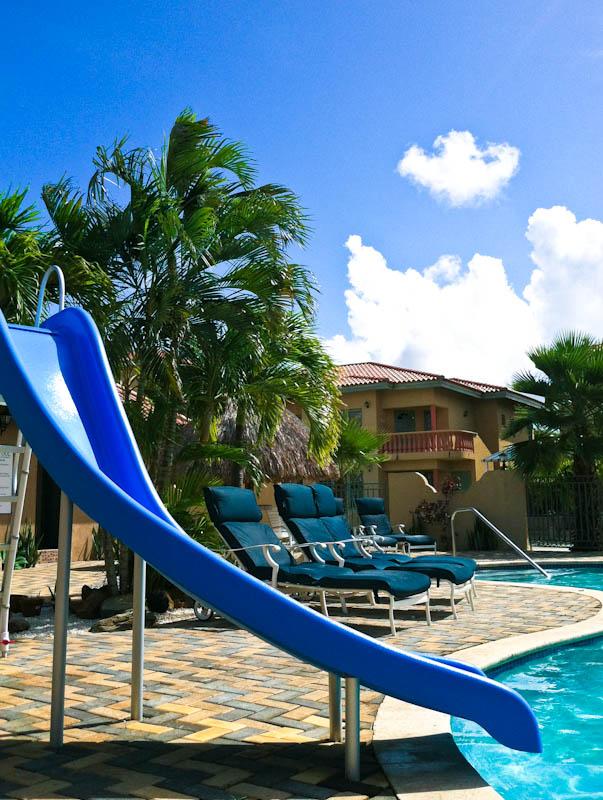 Slide leading into pool