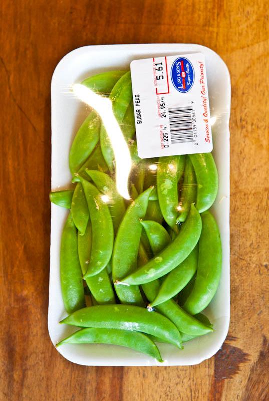 Fresh sugar snap peas container