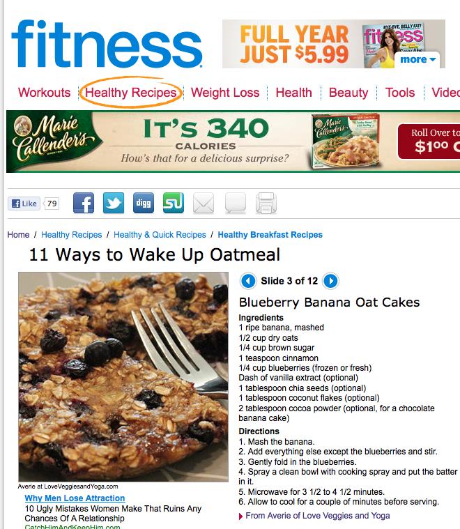 Fitness magazine article 11 ways to Wake Up Oatmeal Blueberry Banana Oat Cakes slide