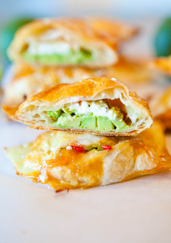 Avocado, Cream Cheese and Salsa-Stuffed Puff Pastry