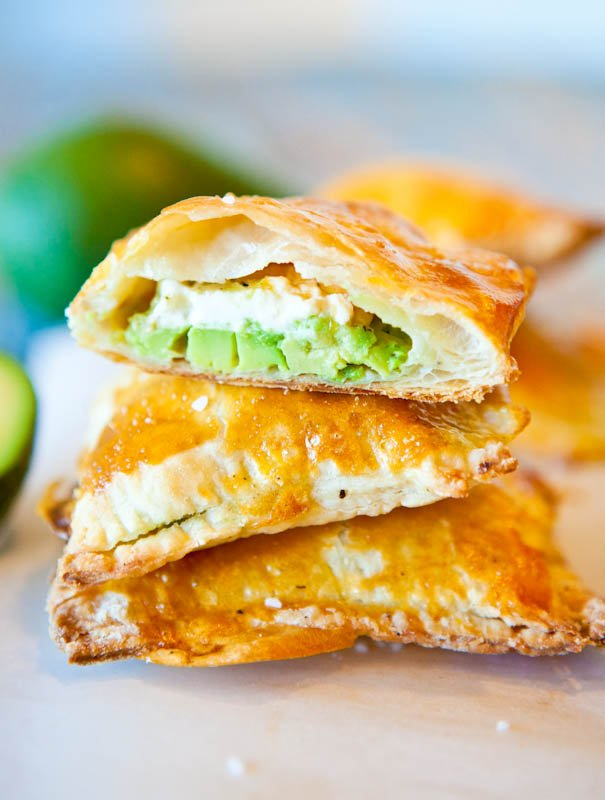 Avocado, Cream Cheese, and Salsa-Stuffed Puff Pastries in half