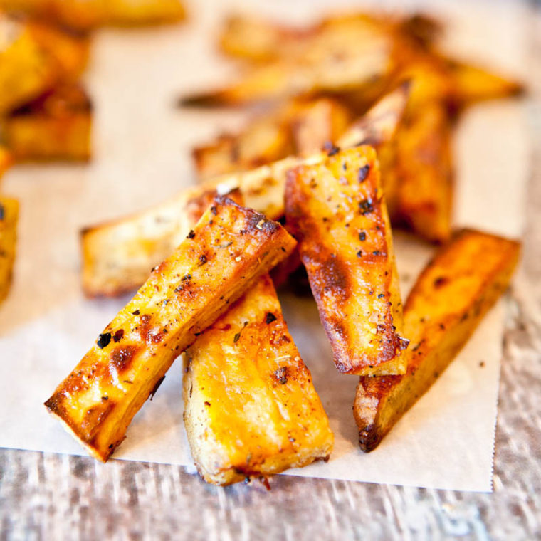 Caribbean Citrus Roasted Sweet Potatoes slices