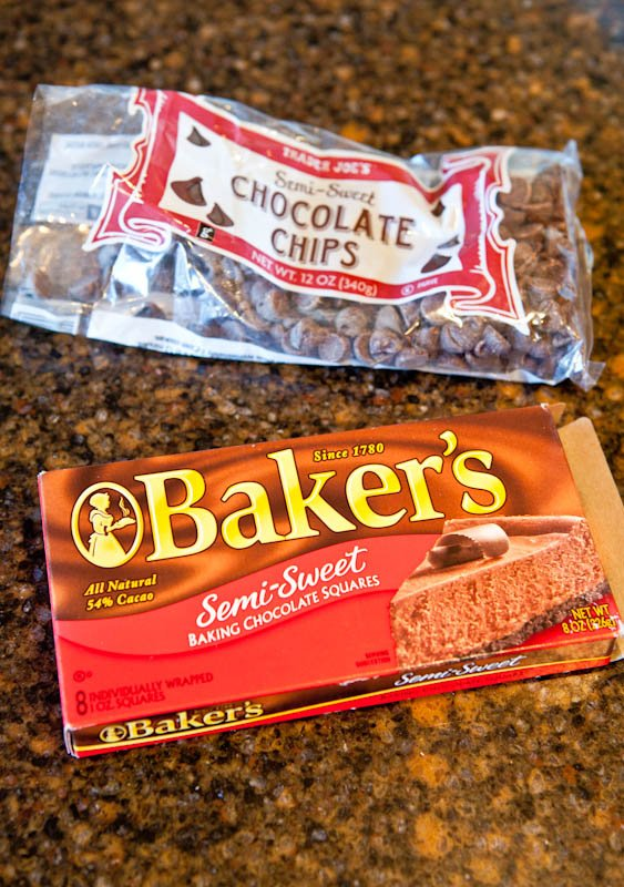 Baker's chocolate squares and bag of chocolate chips