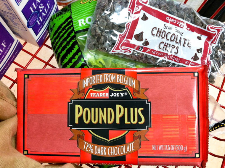 Box of trader Joe's PoundPlus chocolate