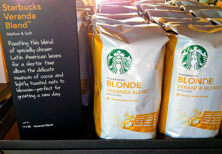 Sign and bags of Starbucks Blonde Veranda Coffee