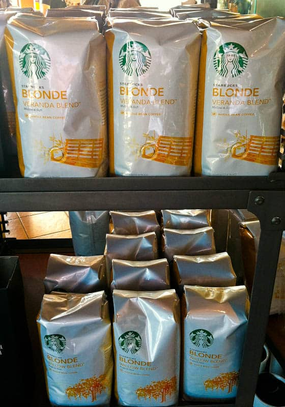Shelves of Starbucks Blonde Veranda Coffee