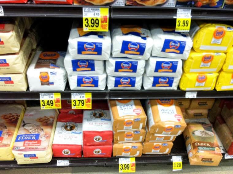 Shelf of bags of flour