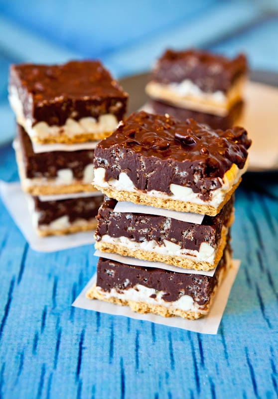 Stacked Peanut Butter Cocoa Krispies Smores Bars