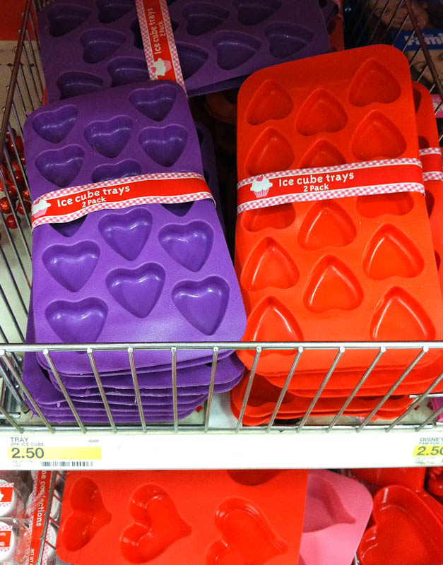 Heart shaped mold ice cube trays