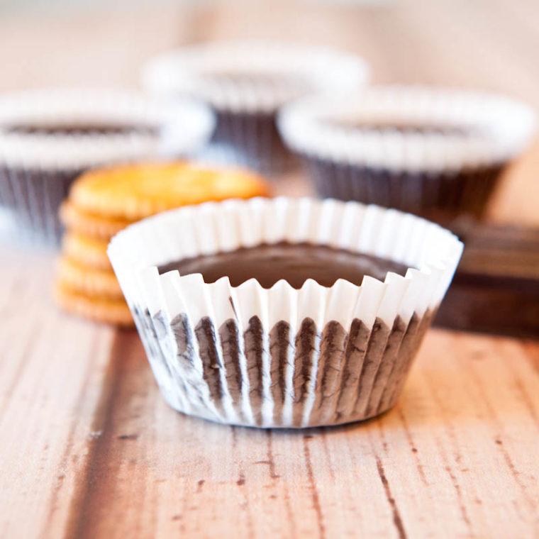 Ritz stuffed peanut butter cups in cupcake wrapper