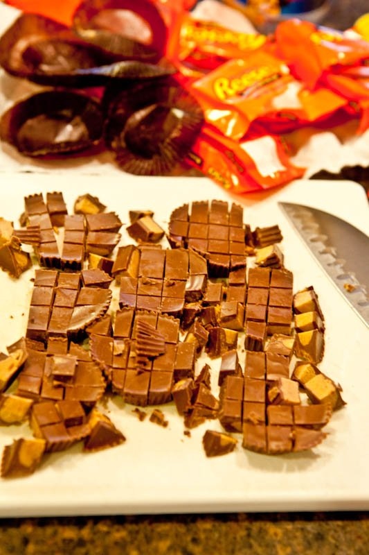 Sliced up peanut butter cups