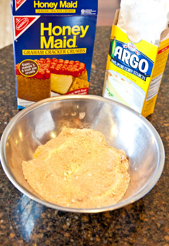 Bowl of graham cracker crumbs and corn starch
