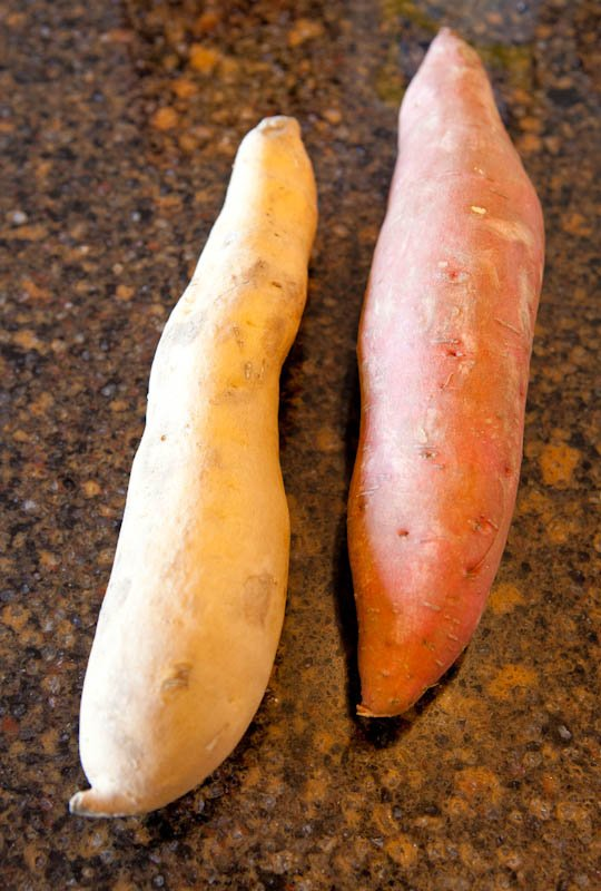 One yam and one sweet potato