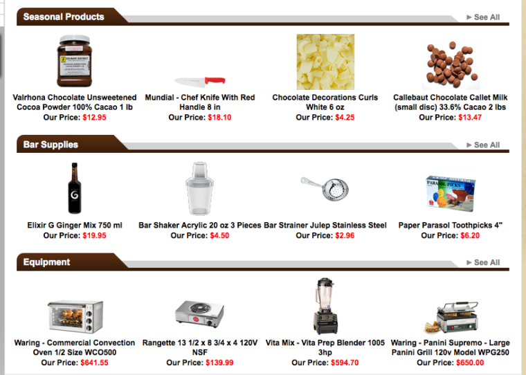 Cooking supply online store