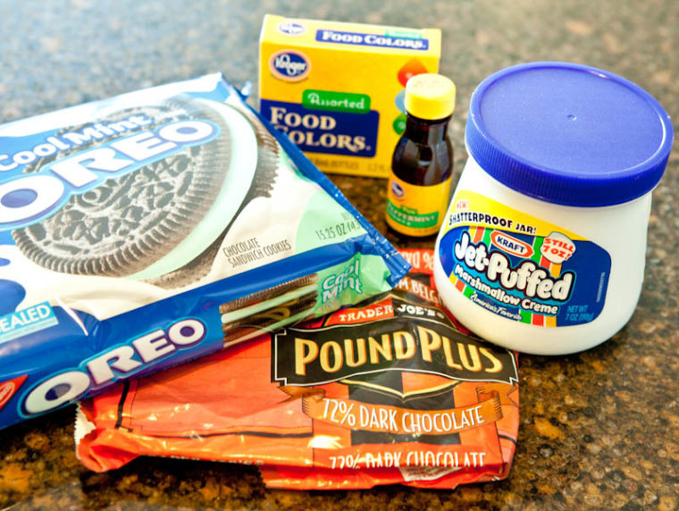 Marshmallow fluff, oreos, chocolate, and food coloring baking supplies
