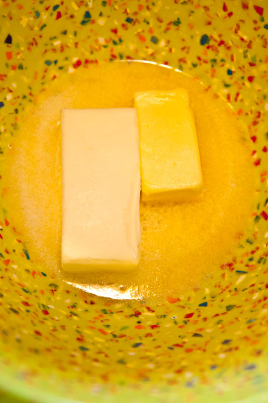Kerrygold and ralph's butter in mixing bowl