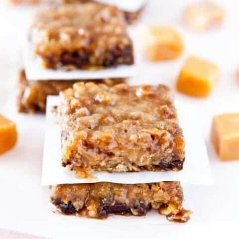 Caramel and Chocolate Gooey Bars (Gluten-Free with Vegan option)