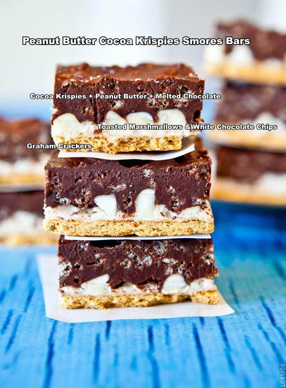 Stack of Peanut Butter Cocoa Krispies Smores Bars