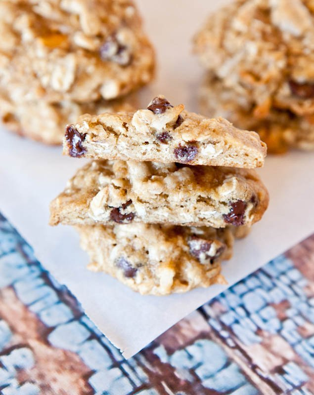 Soft and Chewy Coconut Oatmeal Toffee Cookies