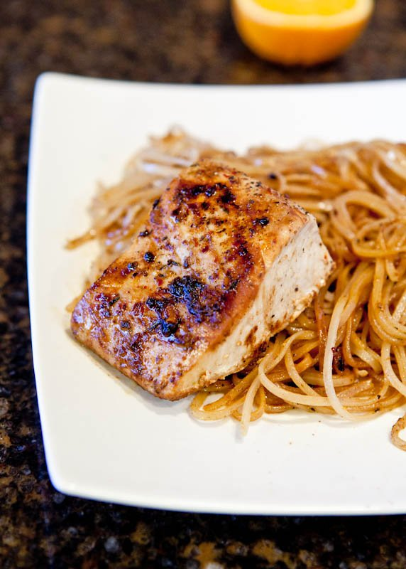 Pan Seared Caribbean Citrus Mahi Mahi with Brown Rice Noodles