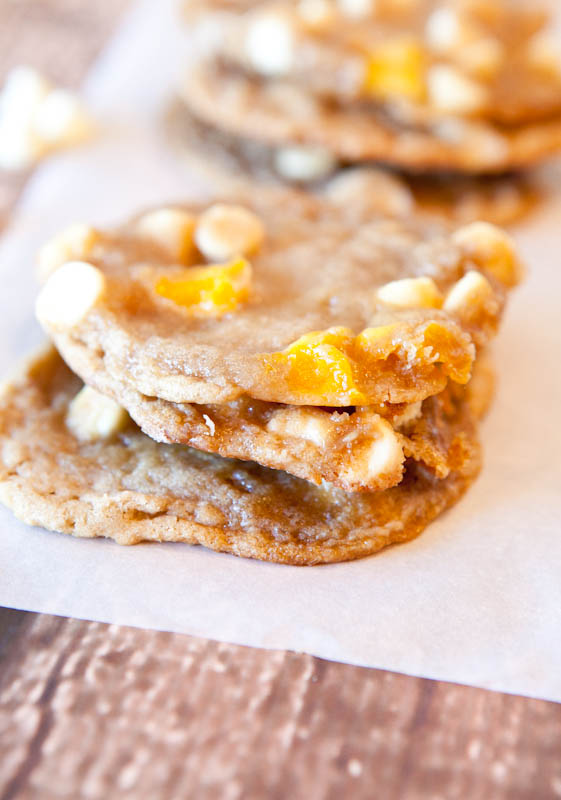 Mango and White Chocolate Chip Cookies stack