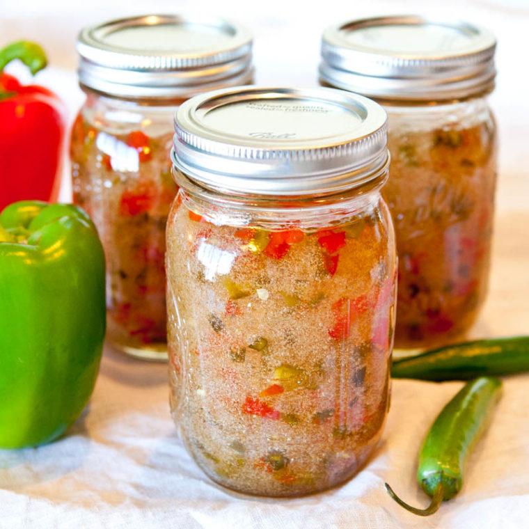 Jars of Homemade hot pepper jelly