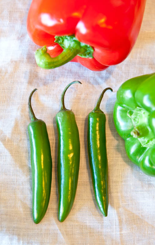 Jalepeno peppers and bell peppers