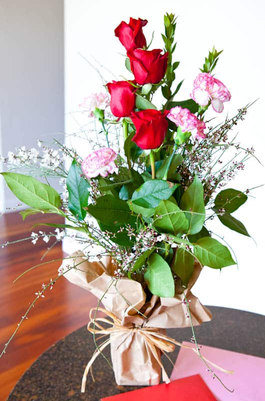 Pink white and red flower bouquet