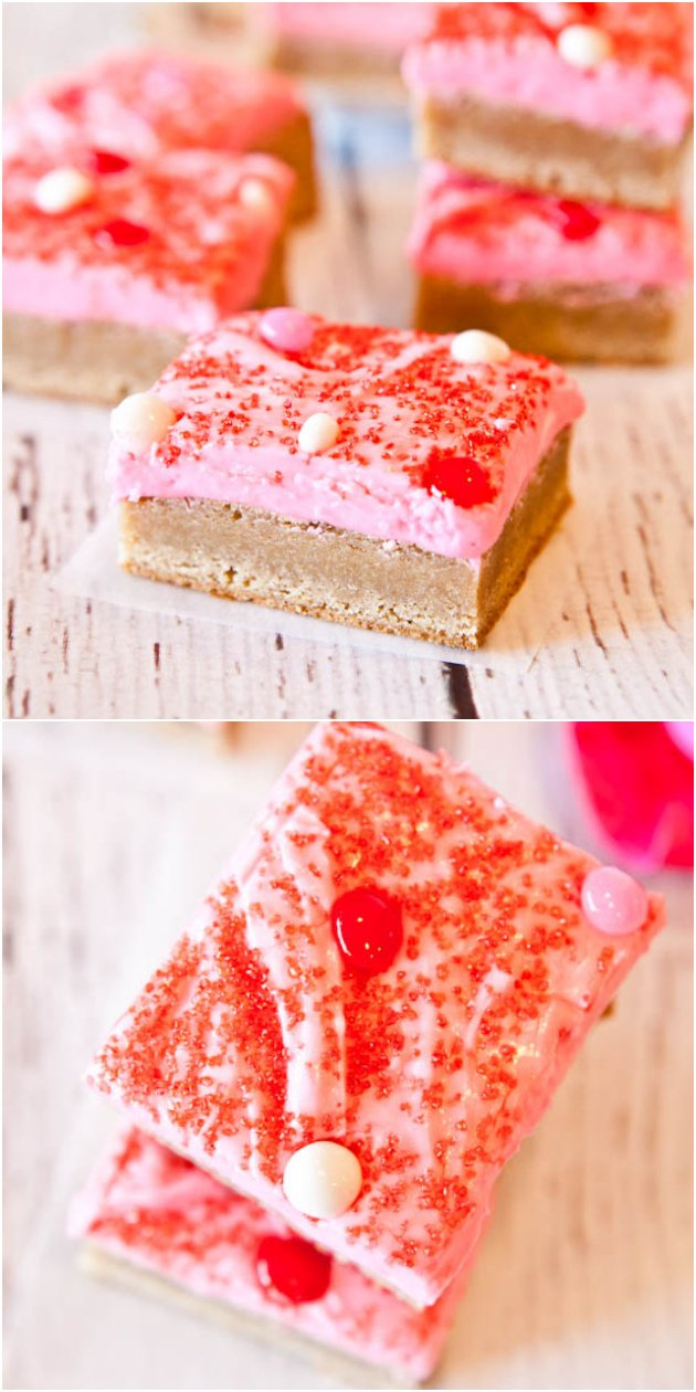 Snickerdoodle Cookie Bars with Pink Vanilla Cream Cheese Frosting - Soft and chewy bars that taste like snickerdoodle cookies! Perfect for Valentine's parties!