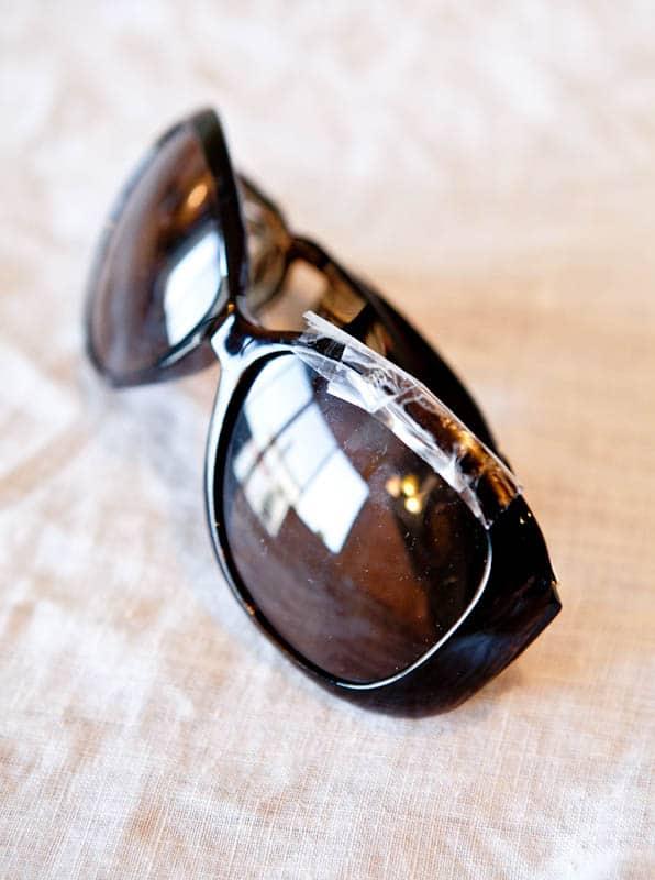 Sunglasses with broken frame